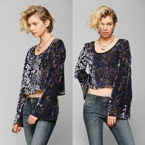 Blue sheer velvet floral bell sleeve blouse S